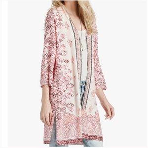 Lucky Brand Pink Mosaic Printed Kimono